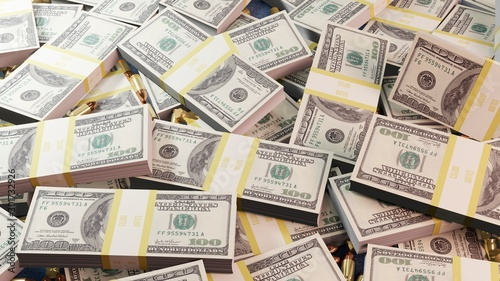 Fotografía A lot of dollar bills in one heap along with gangster mafia bullets