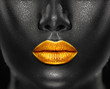 Lips Makeup art, black skin and Gold lips, golden lipgloss on sexy lips, golden lipstick. Beautiful model girl's mouth, black skin. Make-up. Beauty dark face makeup close up. African American closeup