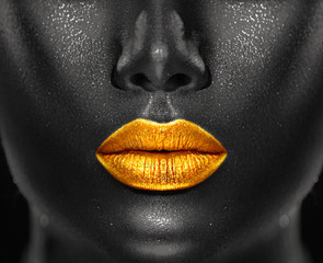 Lips Makeup art, black skin and Gold lips, golden lipgloss on sexy lips, gold...
