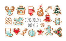 Christmas Gingerbread Cookies Big Set. Traditional Decorative Elements. Cute Stickers For Winter Holidays Design. Vector