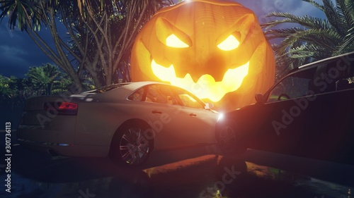 Night landscape with a mystical fog, rainy road, cars on the highway, glowing scary pumpkin on a foggy night in the woods on a wet track. 3D Rendering