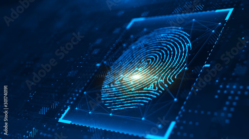 Digital biometric, security and identify by fingerprint concept Wallpaper Mural