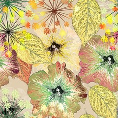 Panel Szklany Kwiaty abstract, art, artwork, asos, autumn, background, beauty, bright, color, colored, colorful, composition, decor, decoration, decorative, design, fabric, flora, floral, flower, graphic, illustration, in
