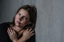 Portrait Of The Woman Victim Of Domestic Violence And Abuse. Empty Space For Text