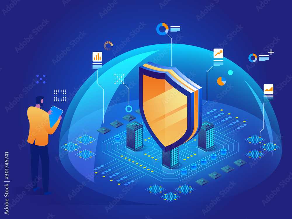 Fototapeta Cybersecurity malware security program Data secure