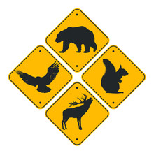 Road Signs Set Of Animals . Bl...
