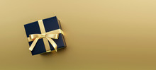 Black Gift Box On Gold Shiny Background 3D Rendering