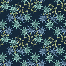 Vector Blue Green Floral Bouquet With Leaves On A Dark Blue Background. Background For Textiles, Cards, Manufacturing, Wallpapers, Print, Gift Wrap And Scrapbooking.