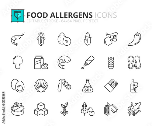 Fotografia Simple set of outline icons about food allergens. Food and drink.