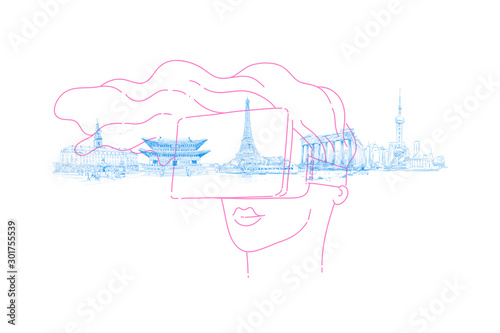 Person wearing virtual reality glasses and traveling the world, looking at landmarks. Virtual guide. New type of tourism concept. Hand drawn vector illustration