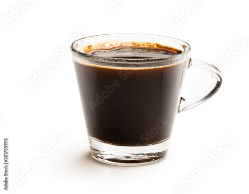 Black coffee in glass cup isolated on white Canvas Print