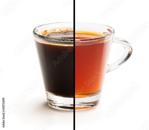 Valokuva Cup split in half. Tough choice tea vs coffee concept