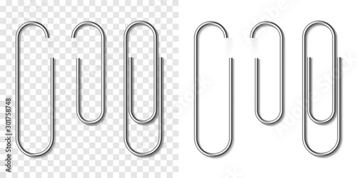 Set of silver metallic realistic paper clip