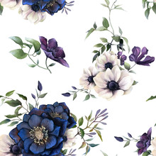 Picturesque Seamless Floral Pattern Depicting Hellebores Arrangements With Leaves, Flowers, Clematis Branches And Anemones Hand Drawn In Watercolor Isolated On A White Background.Watercolor Background