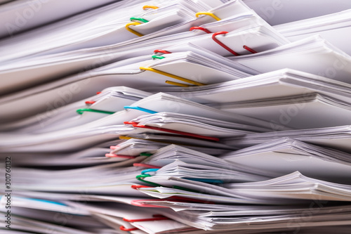 Obraz Stack overload document report paper. - fototapety do salonu