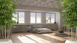 Zen interior with potted bamboo plant, natural interior design concept, modern hygge scandinavian bedroom, double bed and window, contemporary modern architecture concept idea