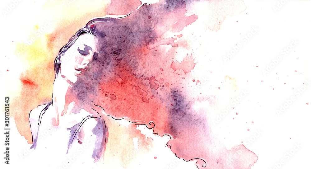 Fototapeta Beautiful woman face. watercolor illustration