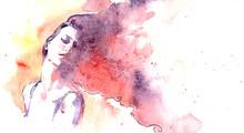 Beautiful Woman Face. Watercol...