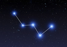 Cassiopeia Constellation On Starry Sky