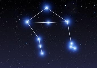 Libra constellation on starry sky