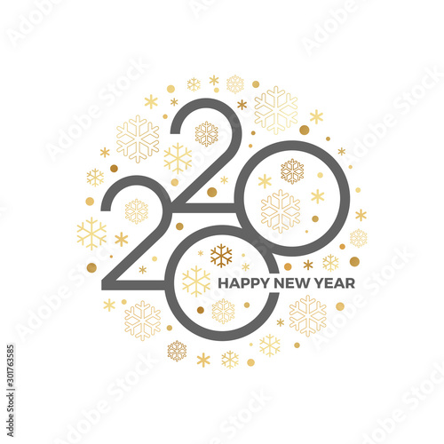 Obraz 2020 new year logo with holiday greeting and showflakes on a white background. Design for greeting card, invitation, calendar, etc. - fototapety do salonu