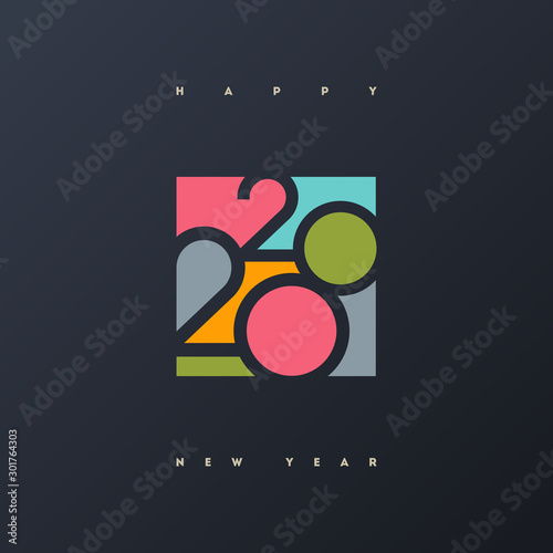 Obraz 2020 new year multicolored logo. New Year symbols. Can be used  for greeting card, invitation, calendar, etc. - fototapety do salonu