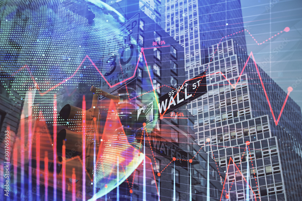 Fototapety, obrazy: Forex chart on cityscape with tall buildings background multi exposure. Financial research concept.