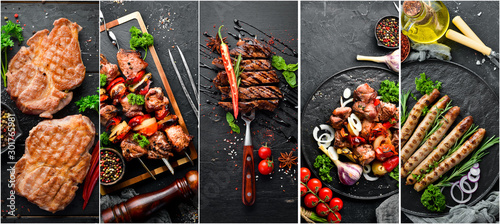 Obraz Barbecue, meat dishes: steak, kebab, sausage. Photo collage. Banner. - fototapety do salonu