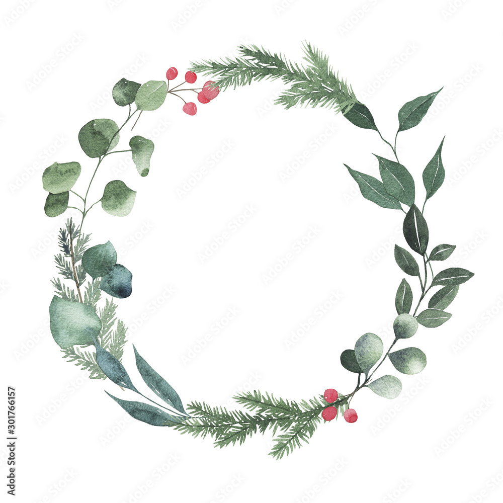 Fototapety, obrazy: Watercolor round christmas frame with fir branches berry leaves plant herb winter flora isolated on white background. Botanical greenery new year holiday illustration for wedding invitation design