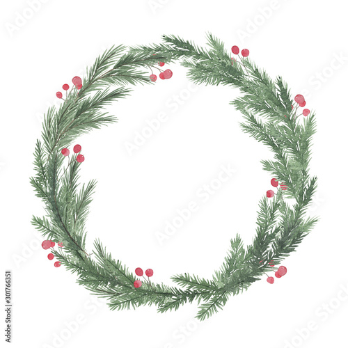 Watercolor round christmas frame with fir branches berry leaves plant herb winter flora isolated on white background Wallpaper Mural