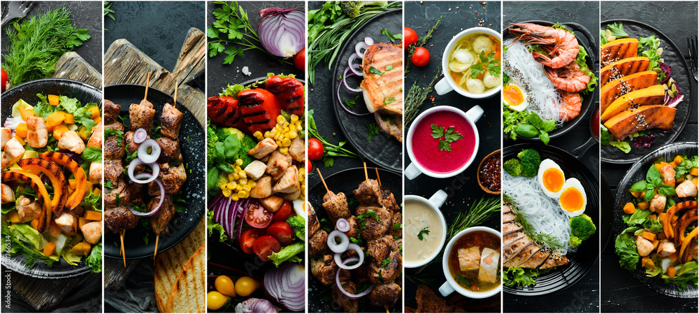 Fototapeta Set of dishes. Seafood, meat and vegetables. Photo collage. Banner.