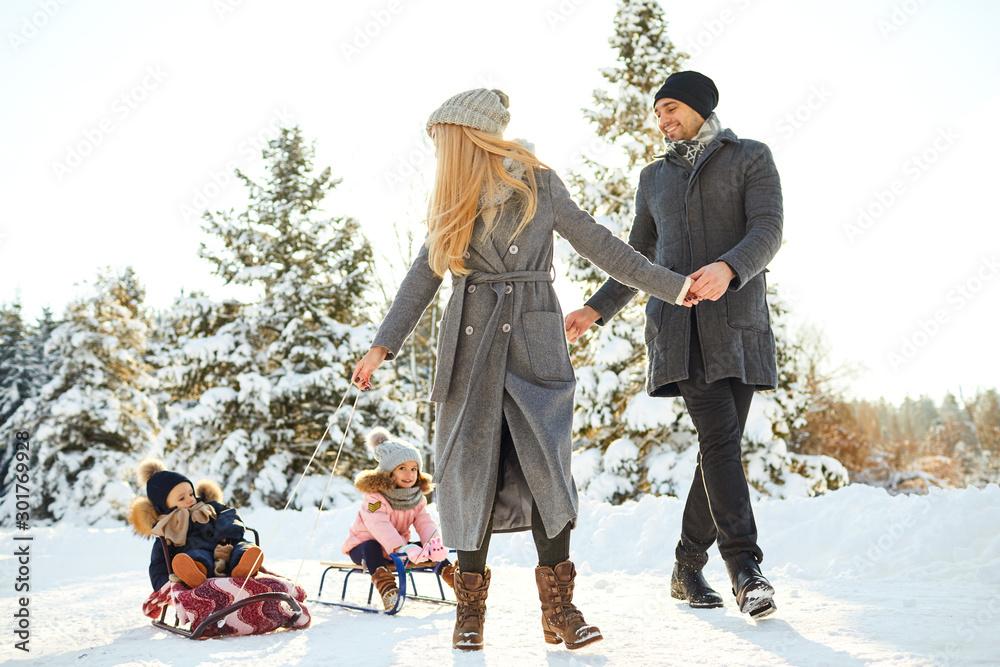 Fototapeta Happy family sledding in the park in winter.