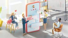 Application Development And Social Media Concept. 3d Illustration.  Cartoon Characters. Business Teamwork Concept.