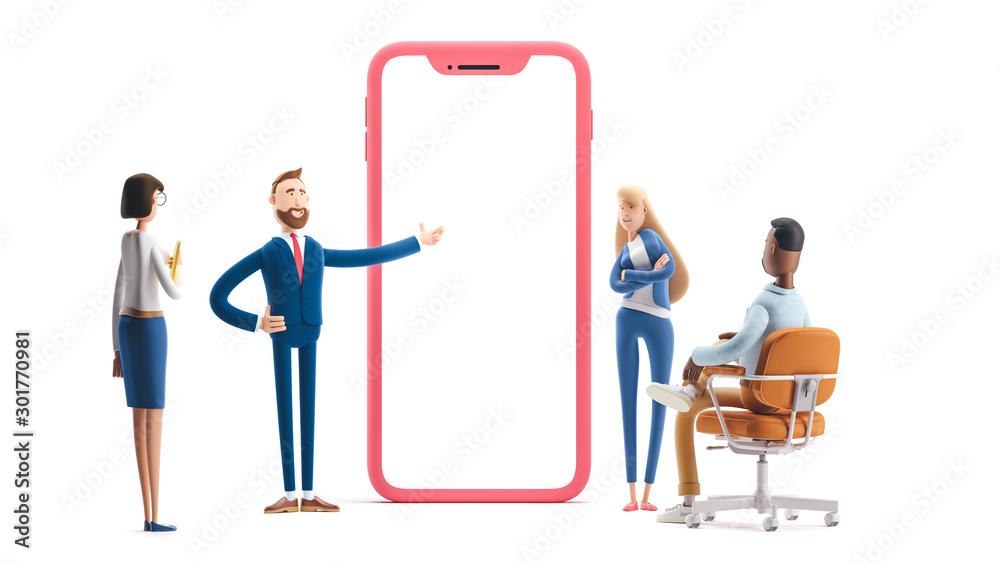 Fototapeta Application development and social media concept. 3d illustration.  Cartoon characters. Business teamwork concept on white background.