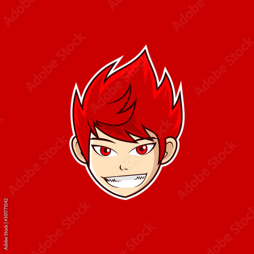 Anime style boy head smile logo design - 301771542