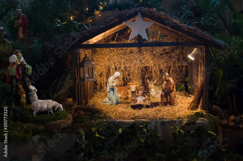 Fototapeta Christmas creche with Joseph Mary and Jesus