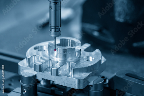 The Coordinate Measuring machine ,CMM probe  measure dimension of the aluminium engine block parts Fototapete