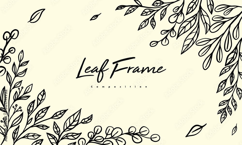 Fototapeta Grass plant composition for decoration frame, simple hand drawn leaves lineart illustration, floral vector elements for romantic and vintage design