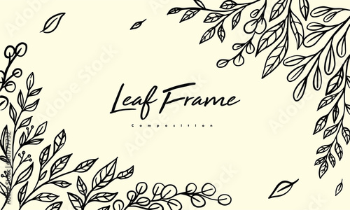 Obraz Grass plant composition for decoration frame, simple hand drawn leaves lineart illustration, floral vector elements for romantic and vintage design - fototapety do salonu