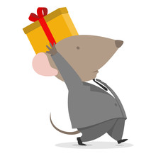 2020 New Year Rat Present Gift For Business Company Carrying Cute Cargo Box For Christmas In Space Grey Suite Costume And White Shirt. Mouse With Big Pink Ears Celebrating Company Party.