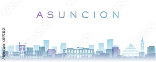 Asuncion Transparent Layers Gradient Landmarks Skyline Wallpaper Mural