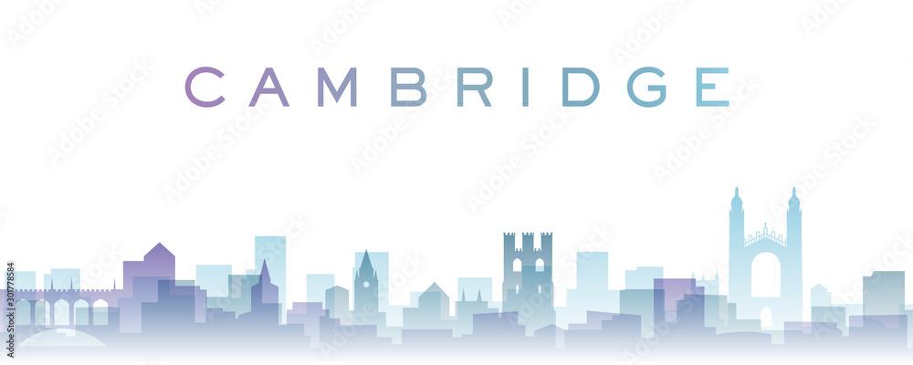 Fototapety, obrazy: Cambridge Transparent Layers Gradient Landmarks Skyline