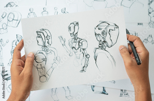 Animator designer Development designing drawing sketching development creating graphic pose characters sci-fi robot Cartoon illustration animation video game film production , animation design studio Canvas-taulu