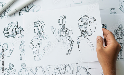Valokuvatapetti Animator designer Development designing drawing sketching development creating graphic pose characters sci-fi robot Cartoon illustration animation video game film production , animation design studio