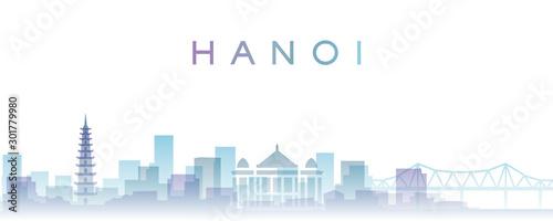 Leinwand Poster Hanoi Transparent Layers Gradient Landmarks Skyline