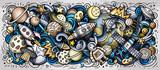 Fototapeta Młodzieżowe - Space hand drawn cartoon doodles illustration. Colorful vector banner