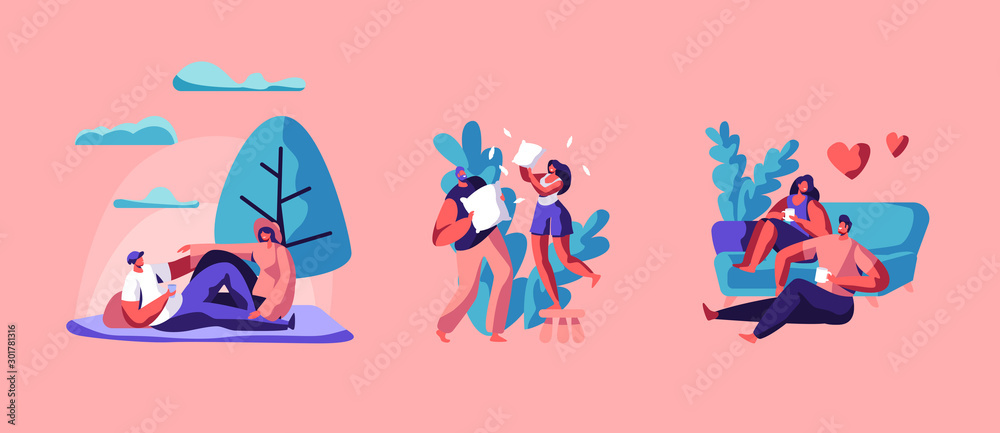 Fototapety, obrazy: Loving Couple Spare Time Set. Happy Man and Woman Spending Weekend Together Fighting on Pillows, Drinking Tea or Coffee at Home, Having Picnic on Nature Outdoors. Cartoon Flat Vector Illustration