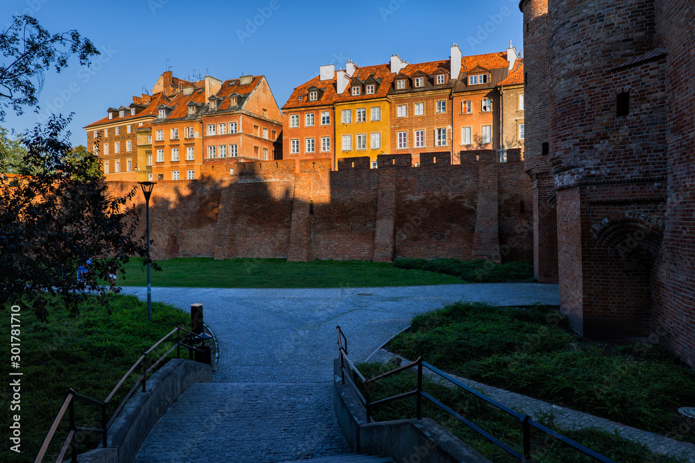 Old Town in Warsaw at Sunset in Poland