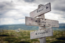 Fear, Kills And Growth Text On Wooden Sign Post Outdoors In Landscape Scenery. Business, Quotes And Motivational Theme Concept.