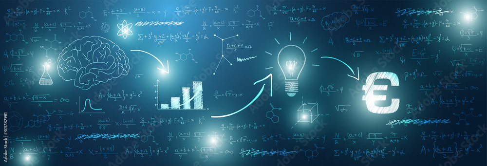 Fototapeta sfondo, grafica, lavagna, investimento, matematica, calcolare